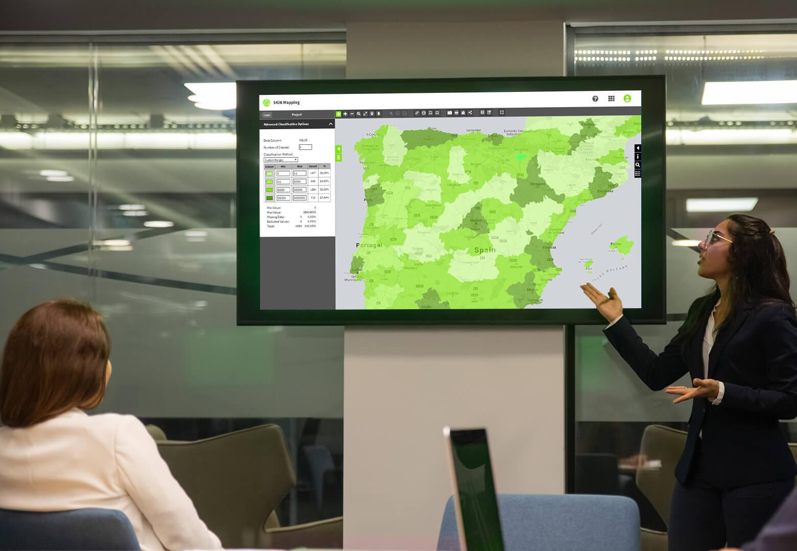 presenting regional trends map