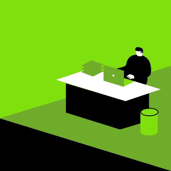 person sat behind desk